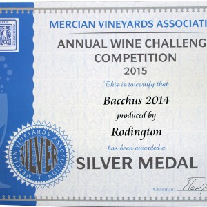 Bacchus 2014 – Mercian Vineyards Association Annual wine Challenge 2015 Silver medal