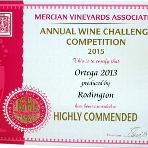 Ortega 2013 – Mercian Vineyards Association Annual wine Challenge 2015 Highly Commended