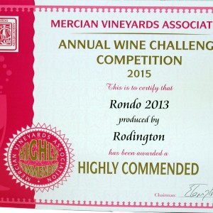 Rondo 2013 – Mercian Vineyards Association Annual wine Challenge 2015 Highly Commended