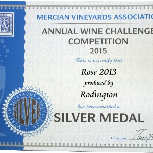 Rose 2013 – Mercian Vineyards Association Annual wine Challenge 2015 Silver medal
