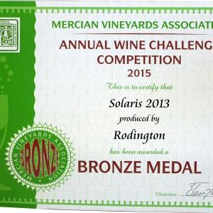 Solaris 2013 – Mercian Vineyards Association Annual wine Challenge 2015 Bronze medal